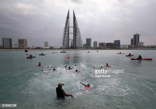 Children compete in the Iron Kids race of IRONMAN 703 Middle East Championship Bahrain on November 24 2017 in Bahrain Bahrain
