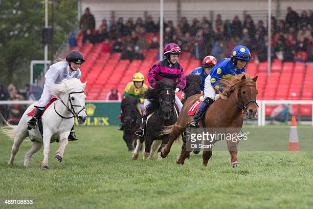 Children compete in the 'Shetland Pony Grand National' event on the penultimate day of the Badminton Horse Trials on May 10 2014 in Badminton England...