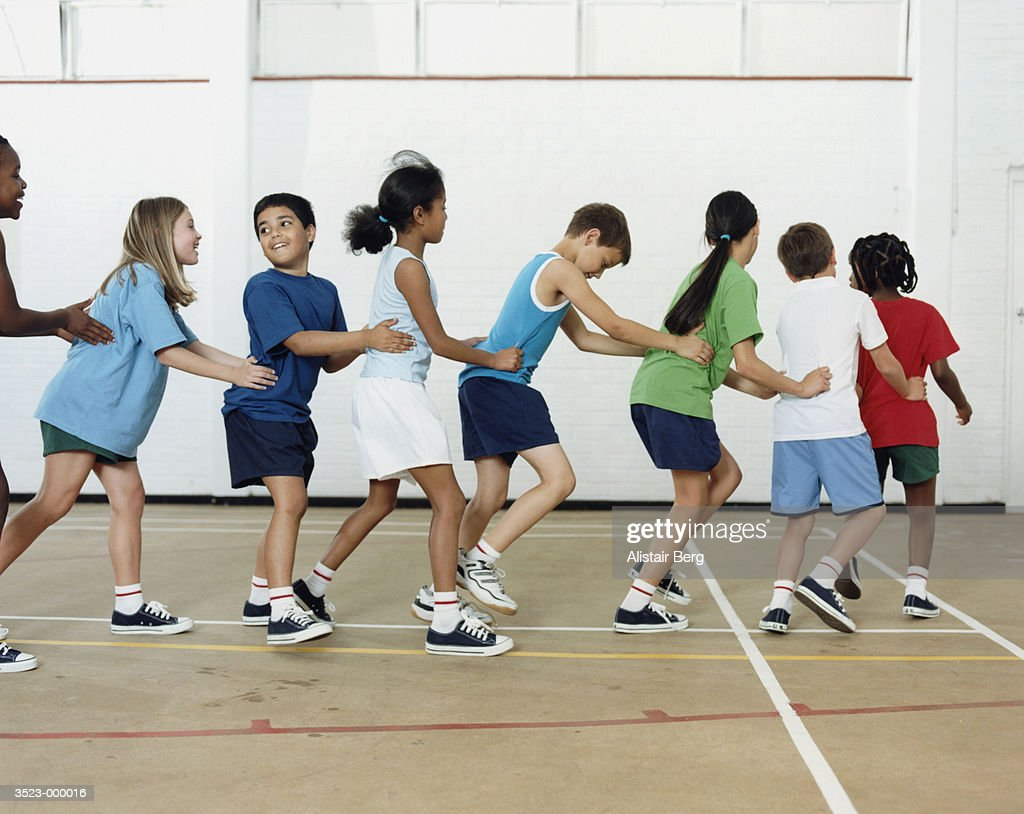 Children Conga Dancing : Stock Photo