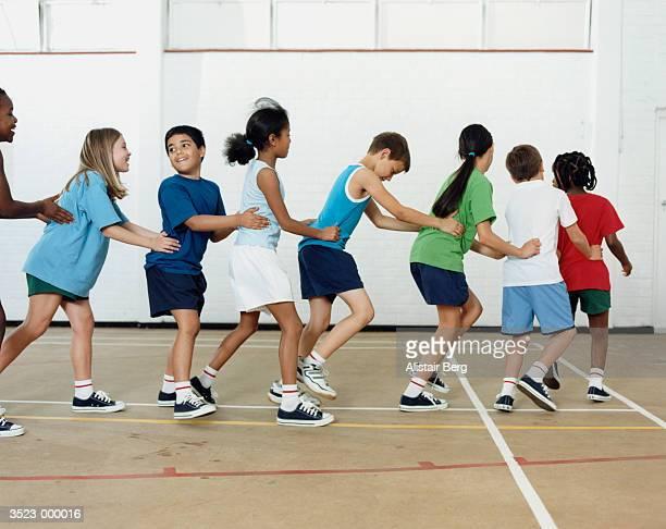 Children Conga Dancing