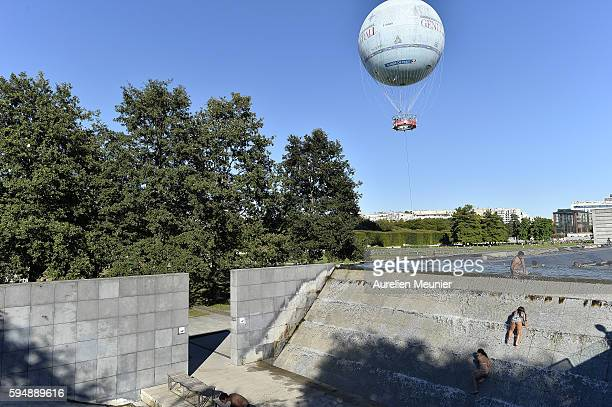 Children cooling off in Parc Andre Citroen during a summer heat wave on August 24 2016 in Paris France The temparature reached 37 celcius degrees...