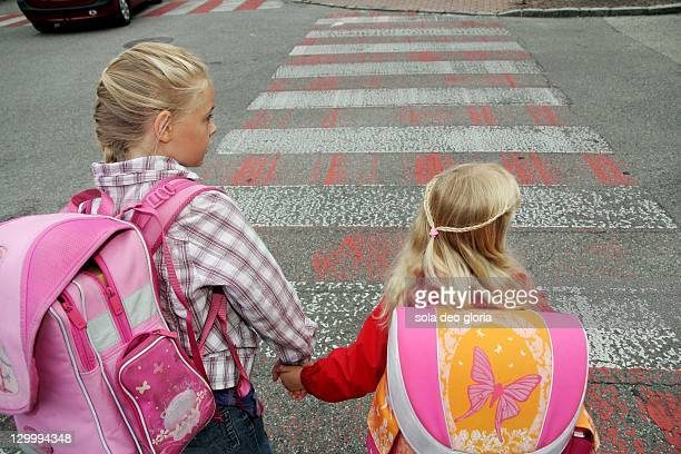 Children crossing street