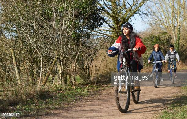 Children cycling on cycle track