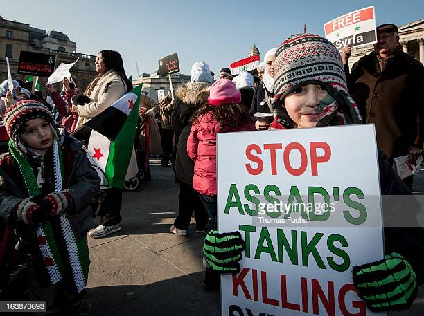 Children demonstrating against the brutalist regime of Syria's Assad at the 'Demonstrate for a Human Rights Revolution' at Trafalgar Square, London,...