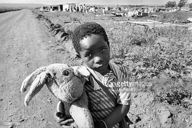 Children Displacement of population of Soweto in Orange farm in South Africa in December 1989
