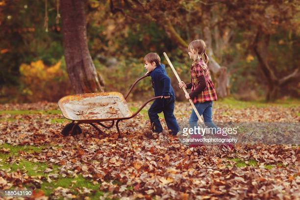 children doing autumn chores - rake stock pictures, royalty-free photos & images