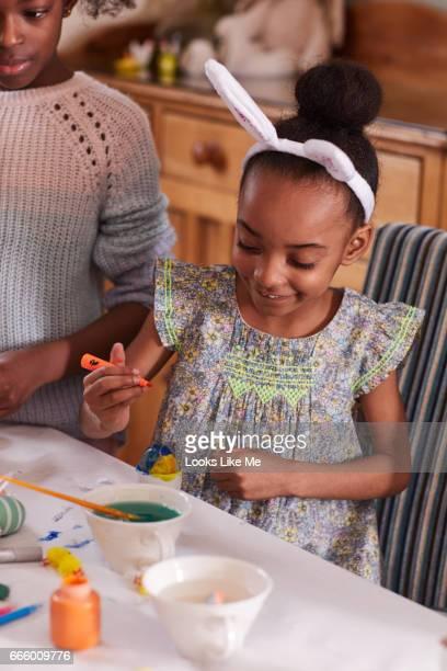 Children doing Easter crafts.