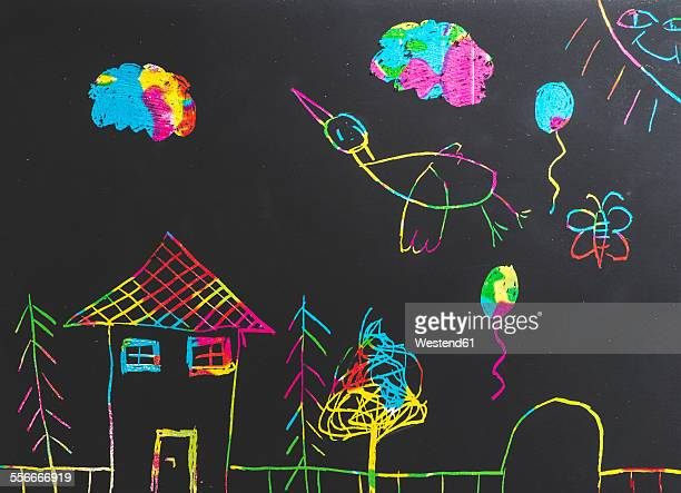 Children drawing on black background