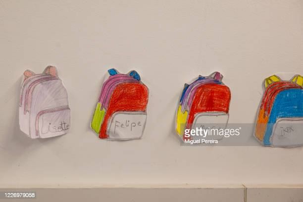 ALCOBENDAS MADRID SPAIN MAY 25 Children drawings of school back bags on the wall of an empty classroom​ on May 25​ at Liceo Europeo school in...