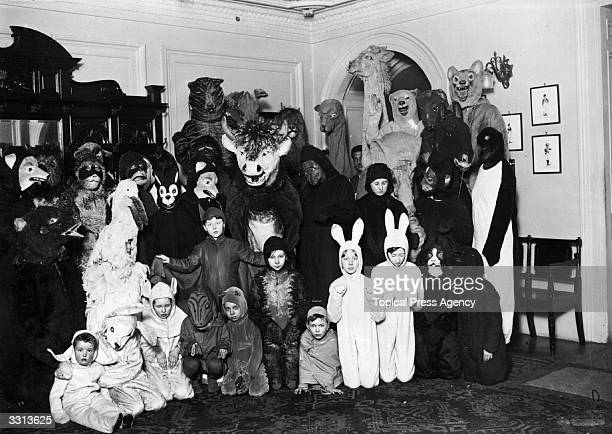 Children dressed as ark animals at the Children's Fancy Dress Ball at Mansion House London