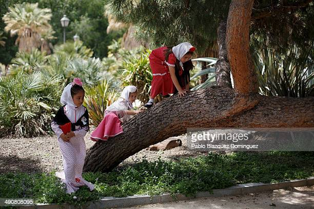 Children dressed as 'Chulapas' climb a tree during the San Isidro festivities at Pradera de San Isidro park on May 15 2014 in Madrid Spain During the...
