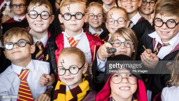 Children dressed as Harry Potter at Smithills Hall in Bolton as they attempt to break the Guinness World Record for the Largest Gathering of People...