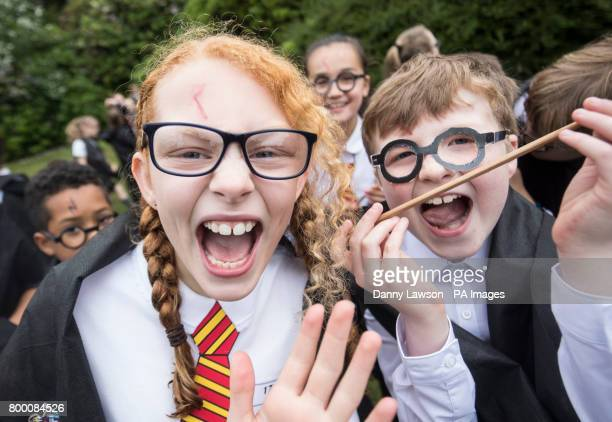 Children dressed as Harry Potter at Smithills Hall in Bolton before an attempt to break the Guinness World Record for the Largest Gathering of People...