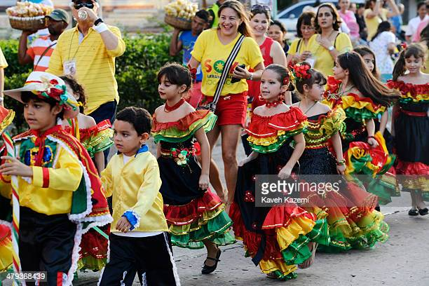BARRANQUILLA COLOMBIA JANUARY 26 2014 Children dressed up for the occasion seen during the procession of Children's Carnival on January 26 2014 in...