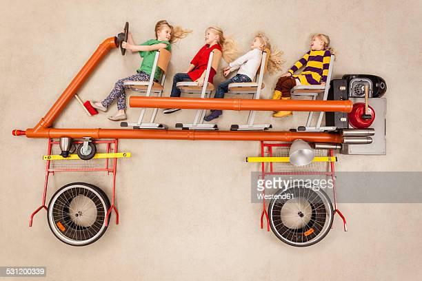 Children driving bus