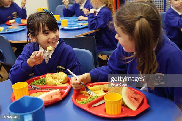 Children eating lunch at school