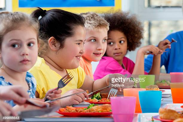 children eating school dinners - fat kid stock photos and pictures