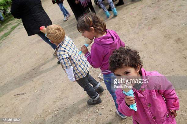 Children eating their ice cream in Tekkes Clean Monday or Lent Monday is the first day of the Eastern Orthodox Christian and the residents of Larnaca...