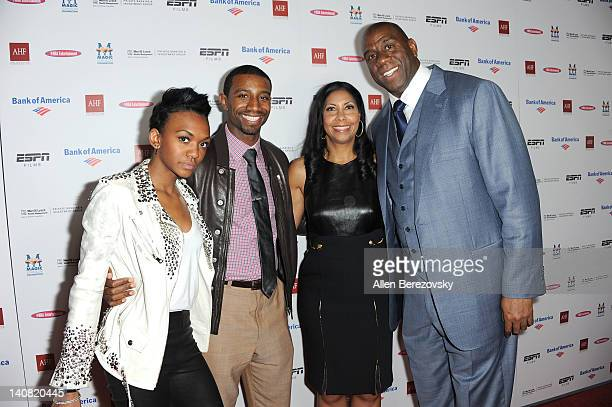Children Elisa Johnson Andre Johnson wife Cookie Johnson and Earvin Magic Johnson arrive at the premiere of ESPN Films' The Announcement at Regal...