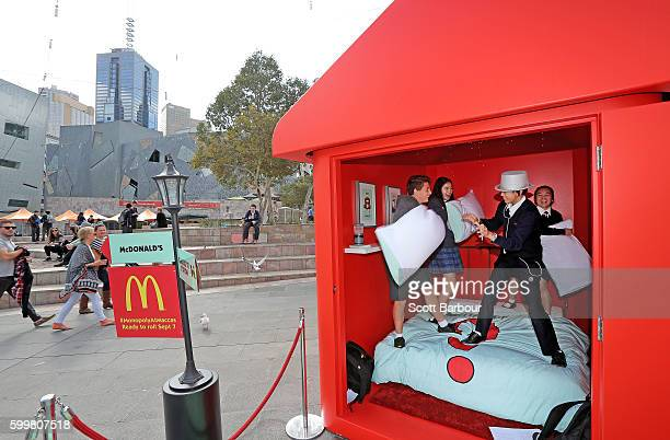 Children enjoy a pillow fight in McDonalds Monopoly Hotel at Federation Square on September 7 2016 in Melbourne Australia Built to celebrate the...