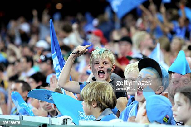 Children enjoy the action during the Big Bash League match between the Adelaide Strikers and Perth Scorchers at Adelaide Oval on January 5 2016 in...