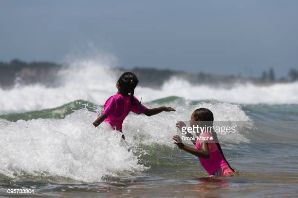 A children enjoy their first ever trip to the beach at South Narrabeen on January 18 2019 in Sydney Australia The 40 children from Far North West NSW...