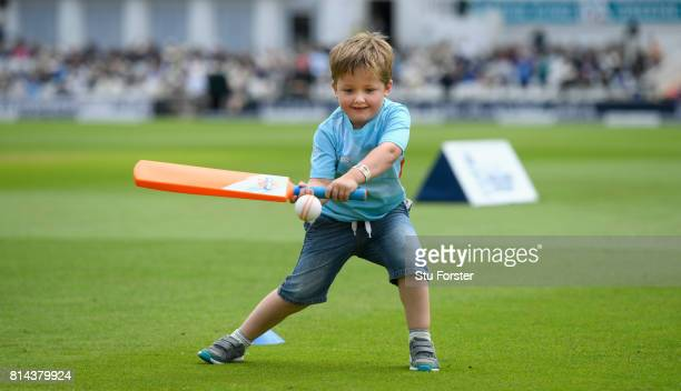 Children enjoy themselves as they take part in an ECB All Stars cricket session during day one of the 2nd Investec Test match between England and...