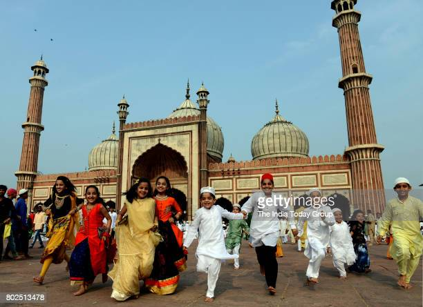 Children enjoying during Eid ulFitr at Jama Masjid Mosque in New Delhi