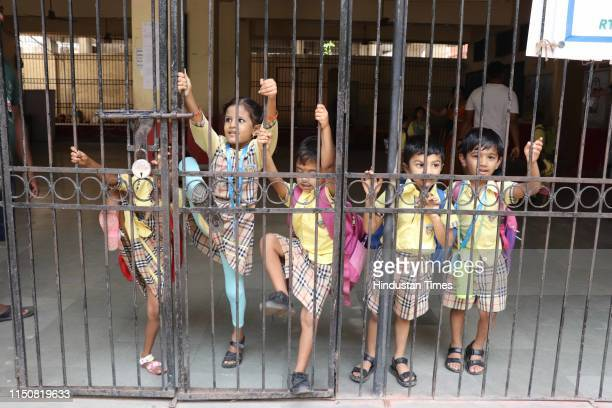 Children enjoying on the first day of school after a long vacation at Subedarwada School and Balak Mandir school at Kalyan West on June 17 2019 in...