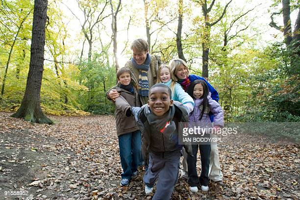 Children enjoying with parents