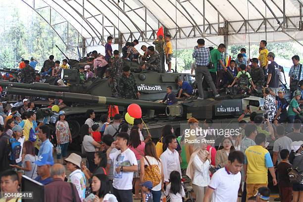 Children enjoys during the National Children's Day at the Horse Brigade Bangkok Weapons such as tanks troop transport artillery guns helicopter are...