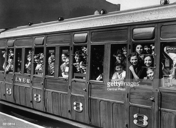 Children evacuated from London leave Liverpool Street Station, London.