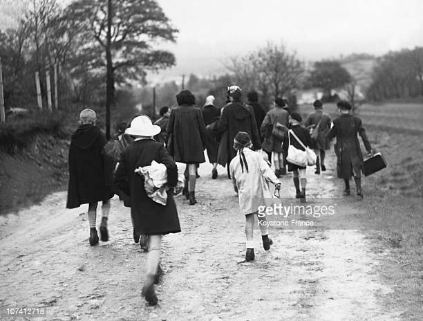 Children Evacuated From Parisian Region Arriving To Gueret In France On 1940
