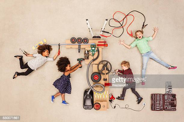 Children experimenting with electricity
