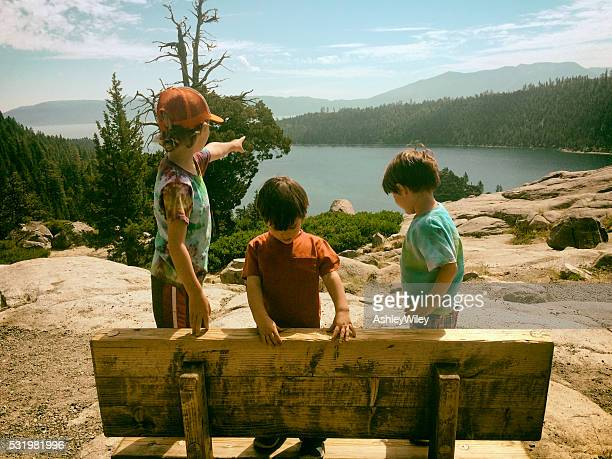 children exploring, hiking, and enjoying lake tahoe together - lake tahoe stock photos and pictures