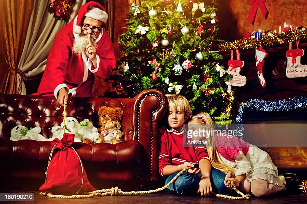 Children fallen asleep trying to catch Santa Claus
