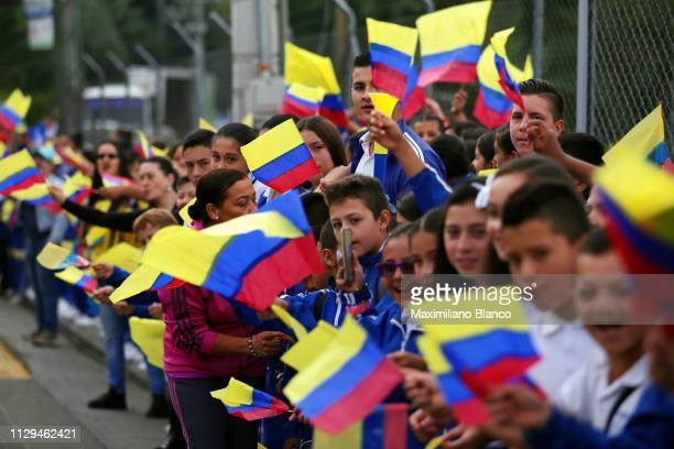 Children / Fans / Public / Flag / Detail view / during the 2nd Tour of Colombia 2019 Stage 2 a 1505km stage from La Ceja to La Ceja /...