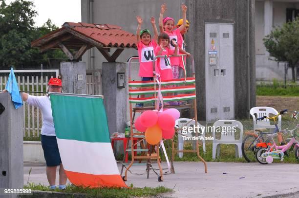 Children / Fans / Public / Italian Flag / during the 101st Tour of Italy 2018 Stage 13 a 180km stage from Ferrara to Nervesa Della Battaglia / Giro...