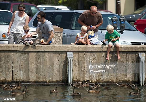 Children feed the ducks at the Annapolis water front in Annapolis MD August 22 2010 Annapolis was settled in 1649 and from 1783 to August 1784...