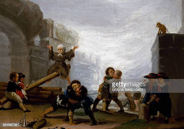 Children fighting and playing on a seesaw 17821785 by Francisco de Goya oil on canvas Spain 18th century