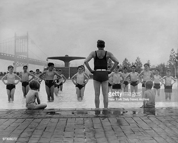 Children follow instructor during drill at the Municipal Pool in Astoria Queens