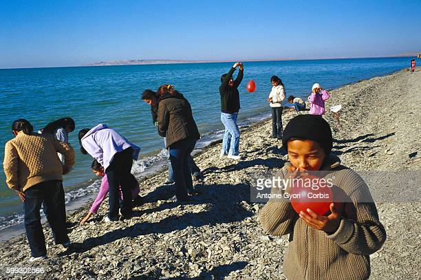 Children from Aralsk discover the Aral sea for the first time The Aral Sea had receded and lost dozens of kilometers because of the intensive...