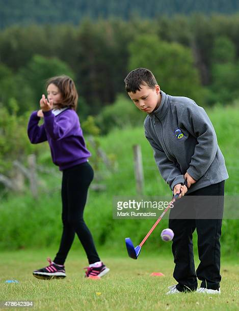 Children from Aviemore Newtonmore Millbank and Rosebank primary schools enjoying the activities laid on by Club Golf during the second round of the...