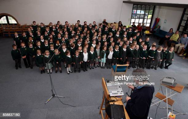 Children from Bucklebury Church of England Primary School record a song for the wedding of Prince William and Kate Middleton in the Berkshire parish...