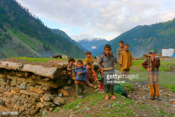children from naran valley - pakistani culture stock photos and pictures