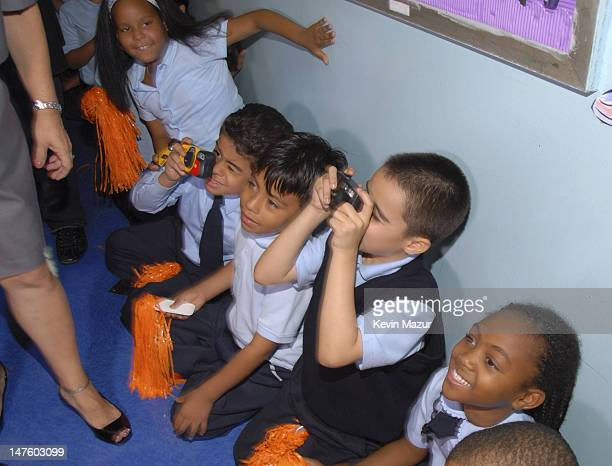 Children from PS36 Union Port School at the kickoff event for ING Presents Jennifer Lopez and Marc Anthony En Concierto Tour at PS36 Union Port...