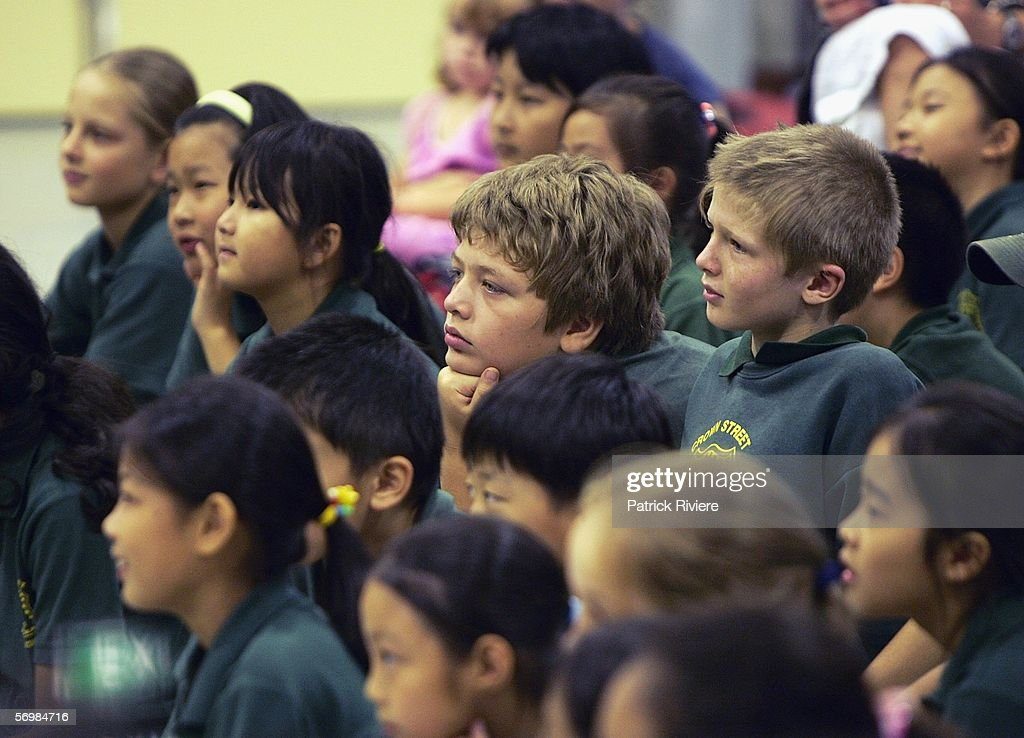 Children from the Crown Street Primary listen and watch a performance during the OzOpera tour launch for Humperdinck's 'Hansel and Gretel' at The Opera Centre on March 3, 2006 in Sydney, Australia. Thousands of primary school children will see opera for the first time when Opera Australia's OzOpera heads off to perform its highly popular 50-minute version of Humperdinck's opera Hansel and Gretel in primary schools all over New South Wales.