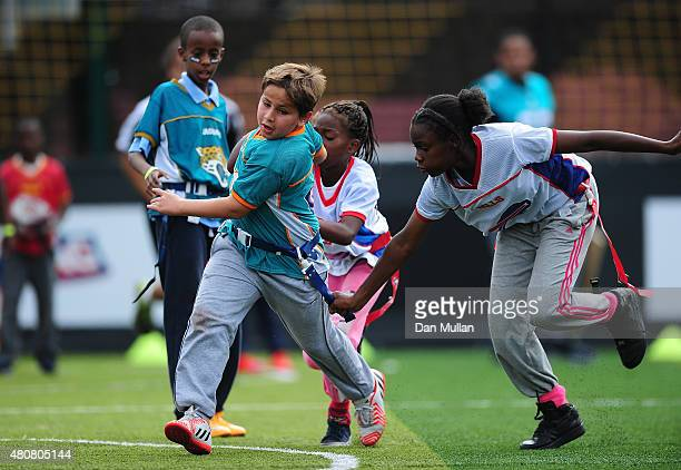 Children from the Fight 4 Change Foundation and local schools take part in the NFL Launch of the Play 60 scheme at the Black Prince Community Hub on...