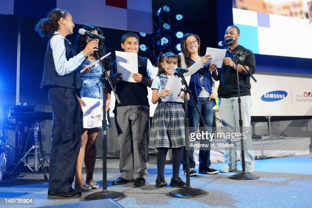 Children from the Santa Maria School in the Bronx and the High School for Arts Imagination and Inquiry in Manhattan read onstage at the Samsung's...