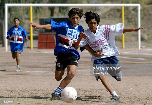 Children from the West City project play soccer during the third day of the Laureus Sport For Good Foundation South American tour on February 27 2003...